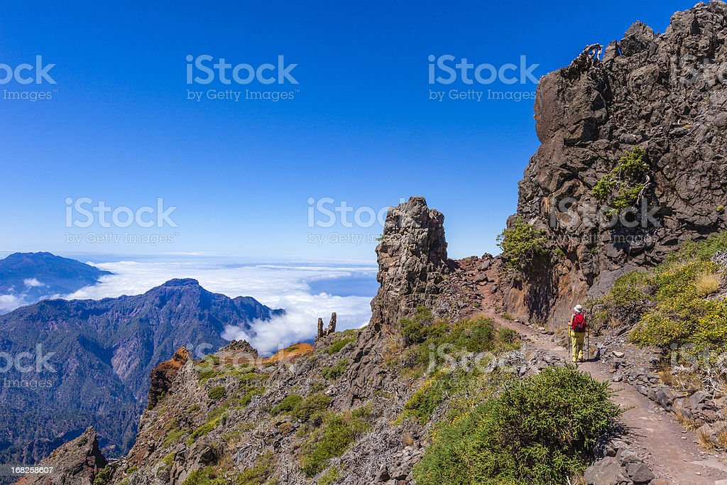 Footpath in the Caldera de Taburiente National Park, La Palma stock photo