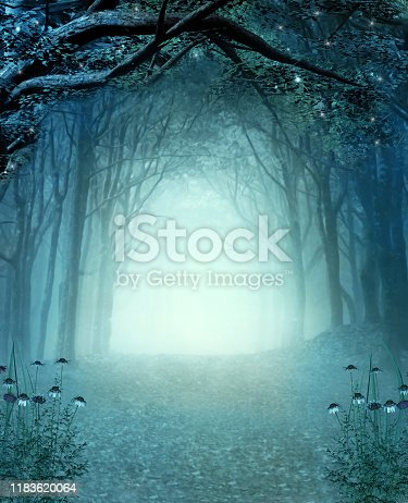 Magic secret passage in a mystic autumnal foggy woodland – 3D render