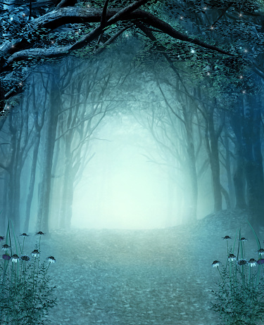 istock Footpath in the enchanted blue foggy forest 1183620064