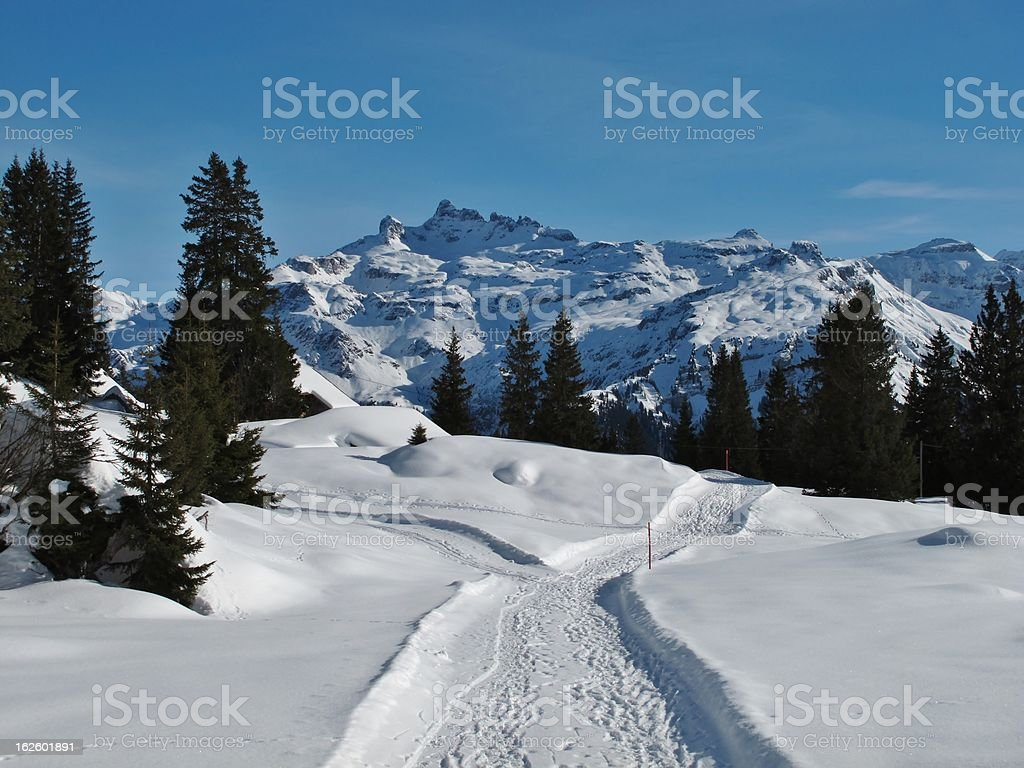 Foot-path in the snow, mountains stock photo