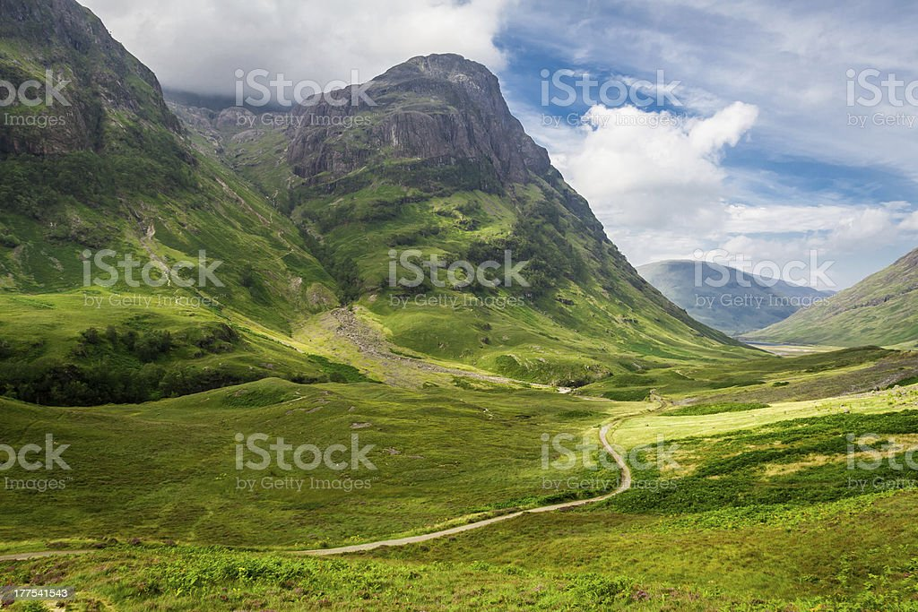 Footpath in the sunny Scotland highlands stock photo