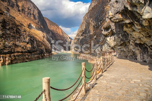 Footpath in to rock montain in Tiger Leaping Gorge ,deepest mountain hole in world, in Lijiang, Yunnan Province, China.