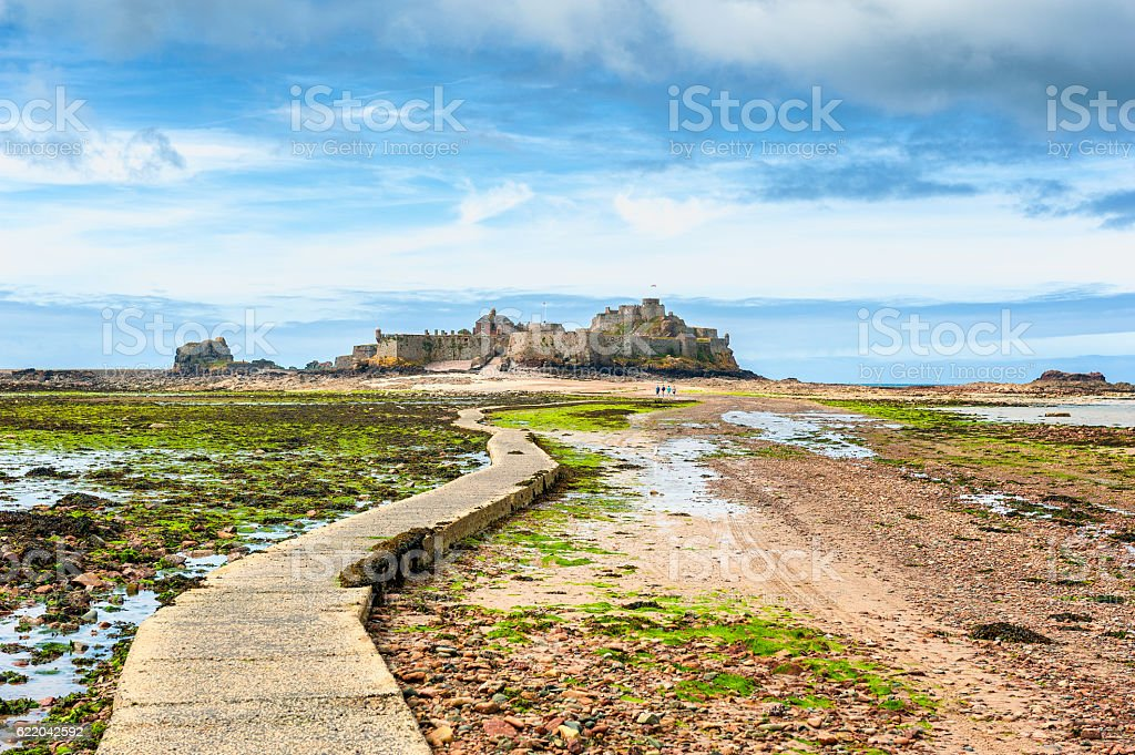 Footpath leading to Elizabeth Castle Jersey stock photo