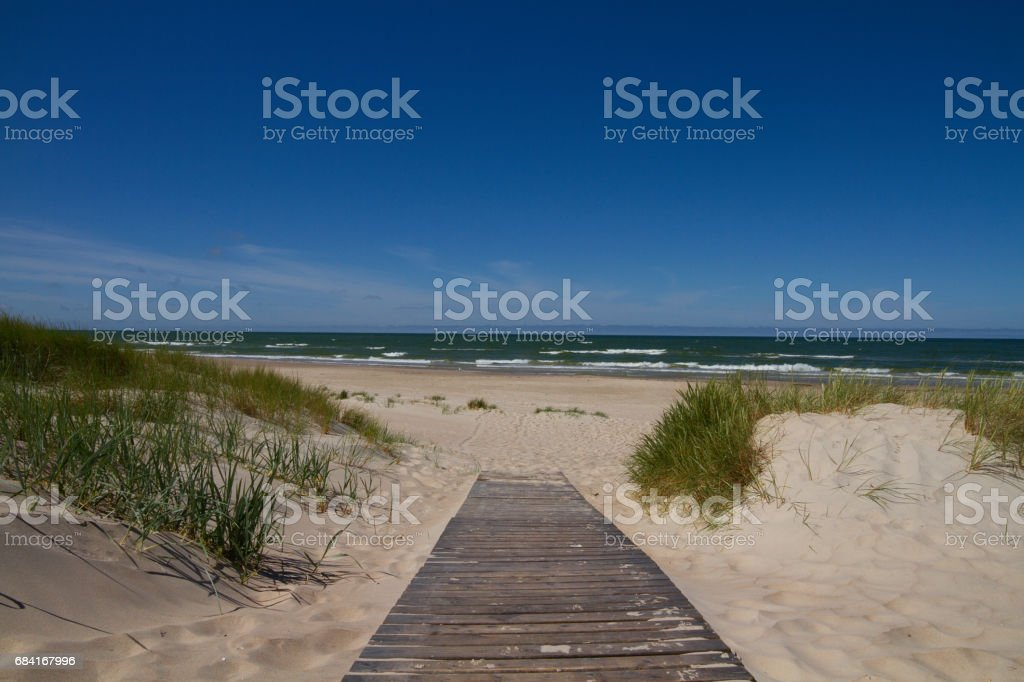 Footpath leading to the sea with waves стоковое фото