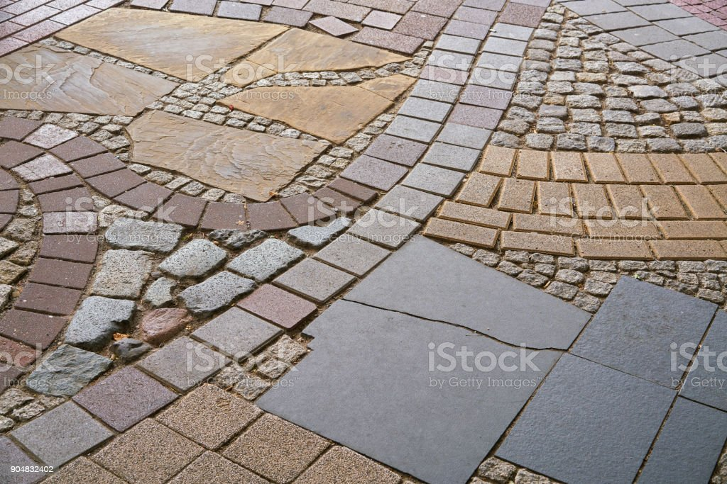 Footpath made of various materials stock photo