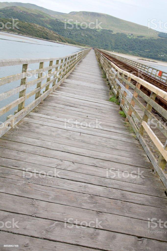 Footpath of Barmouth Railway Bridge; Wales stock photo