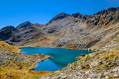 "Footpath of the ""Laghi di Fremamorta"", a series of small lakes in the Maritime Alps. Piedmont, northern Italy"