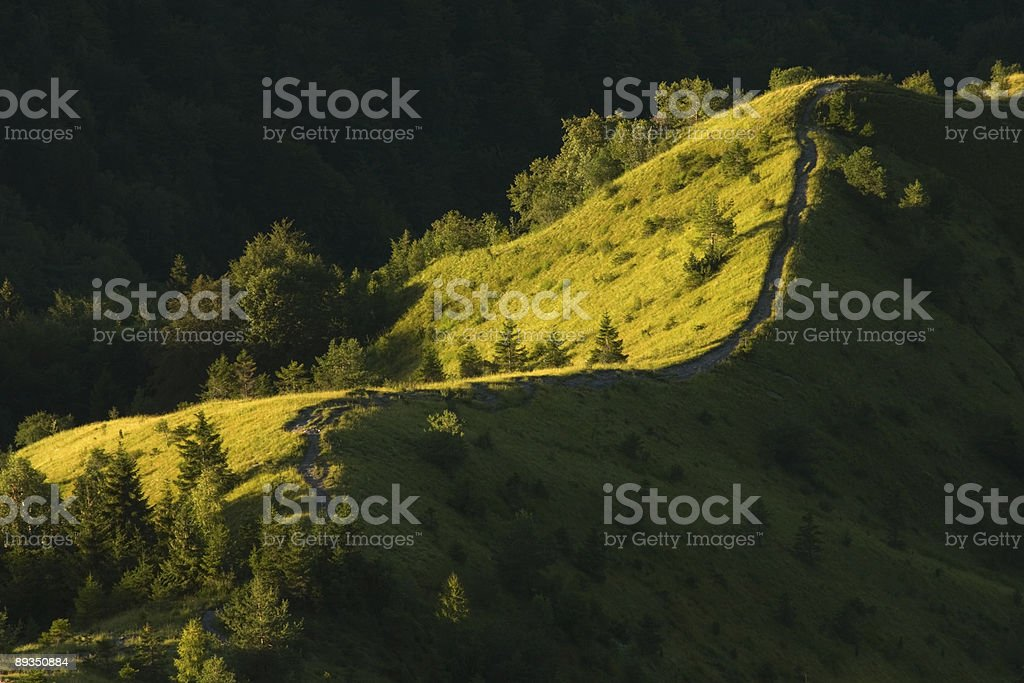 Footpath on mountain crest royalty-free stock photo
