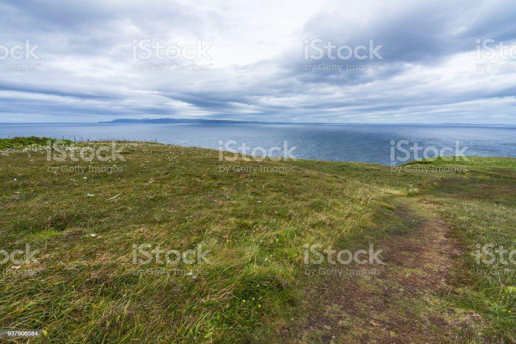 Footpath on North Sea near Dunnet Head, Caithness, Scotland, Britain stock photo