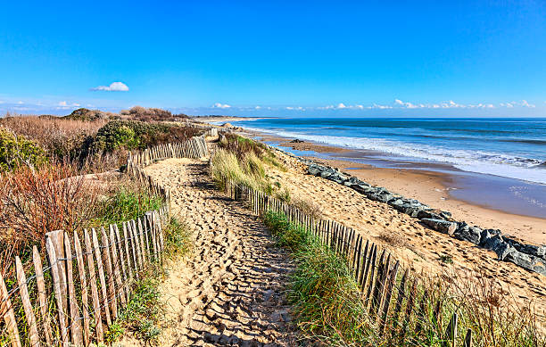 Footpath on the Atlantic Dune in Brittany stock photo