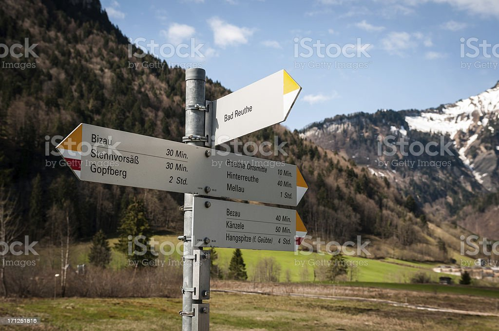 footpath sign in the austrian alps stock photo