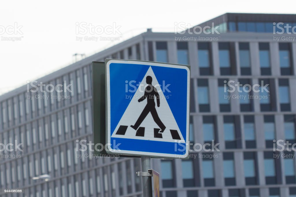Footpath sign in the heart of Stockholm city center (Sweden) stock photo