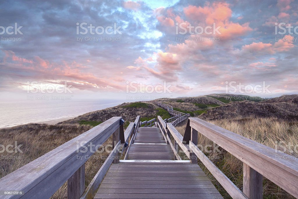 footpath through dunes stock photo