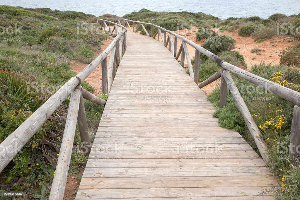 Footpath to Conil and Roche Coves; Cadiz stock photo