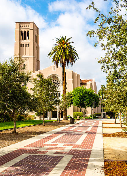 Footpath to First Baptist Church Pasadena - Los Angeles, California stock photo
