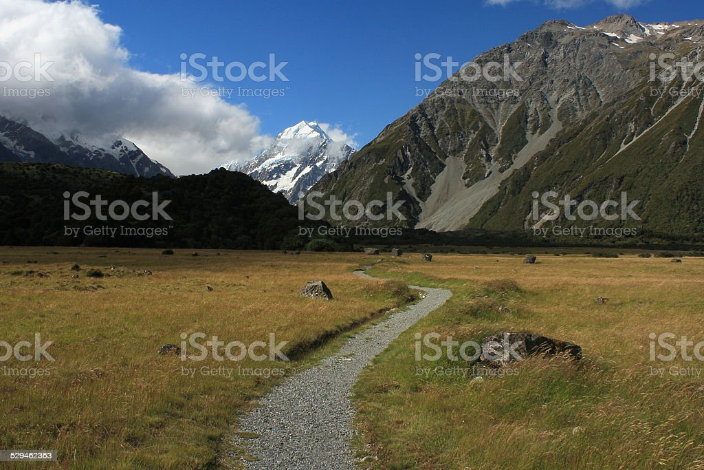 footpath to Hooker Valley in Mount Cook National Park stock photo