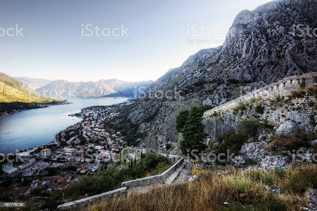 Footpath Winding Up Through Historic Ruins Overlooking Kotor Bay stock photo