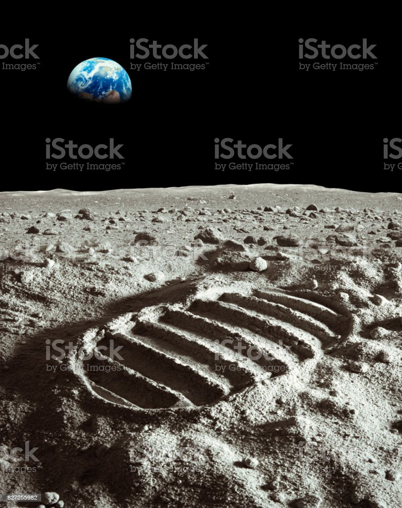 Footprint of astronaut on the moon stock photo