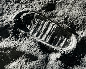 A footprint on the surface of the moon.