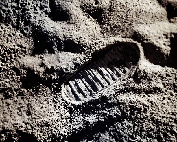 Footprint on Moon stock photo