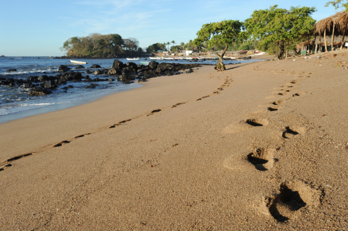 Footprint on the beach of Los Cobanos