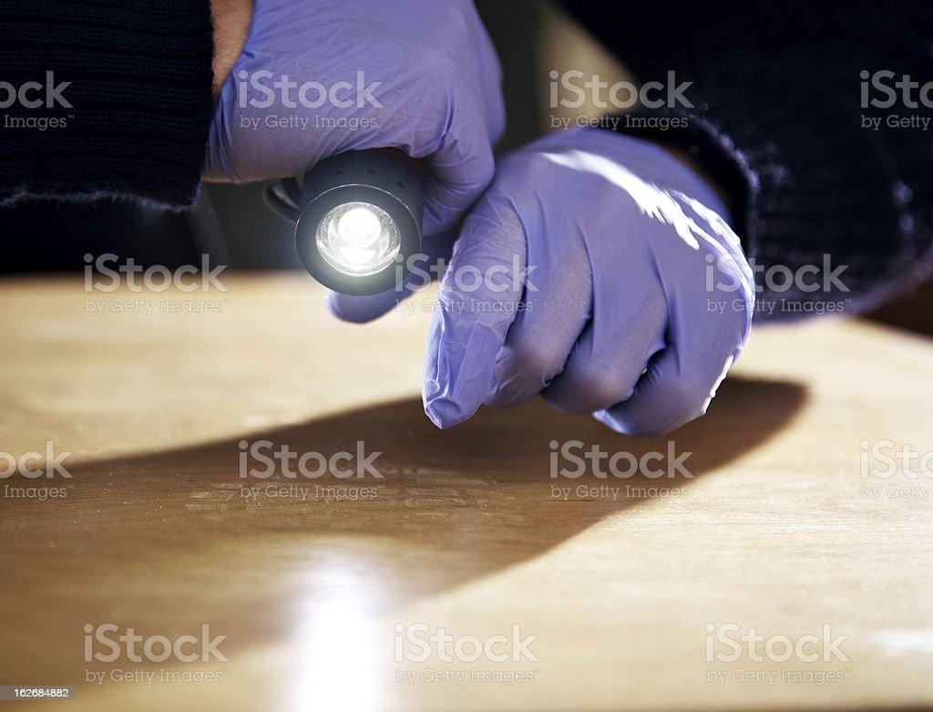 Footprint on the Floor Left by a Burglar stock photo