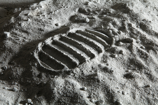 Detail of footprint on the Moon. See similar space photos: