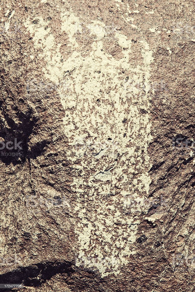 Footprint Pictograph - Three Rivers Petroglyph Site royalty-free stock photo