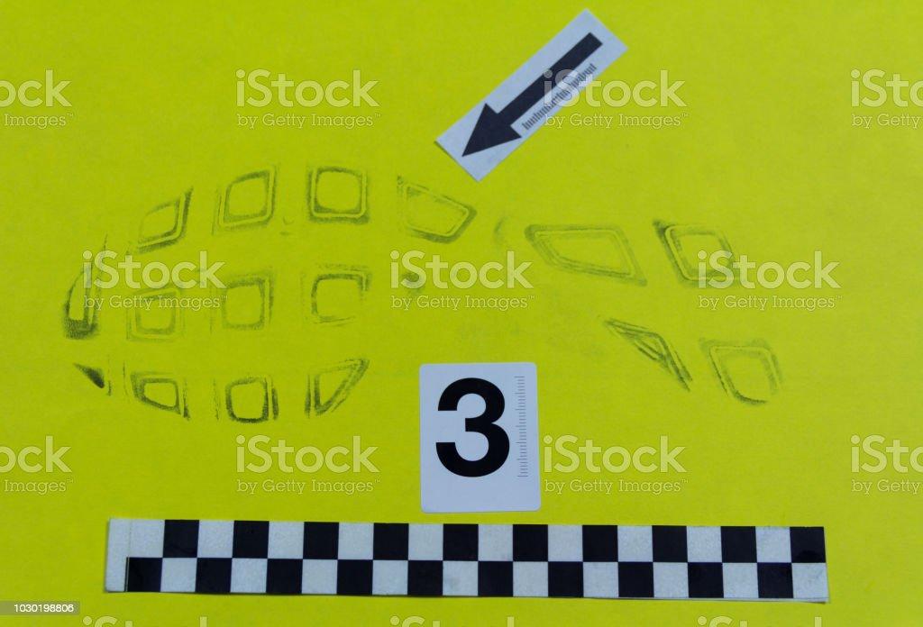 Footprint tread on paper stock photo