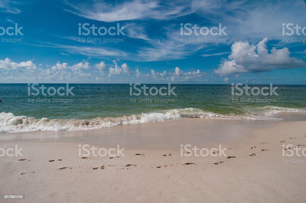 Footprints and Surf Horizontal stock photo