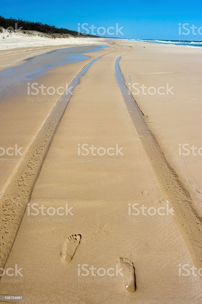 Footprints and tracks on the beach of Fraser Island stock photo