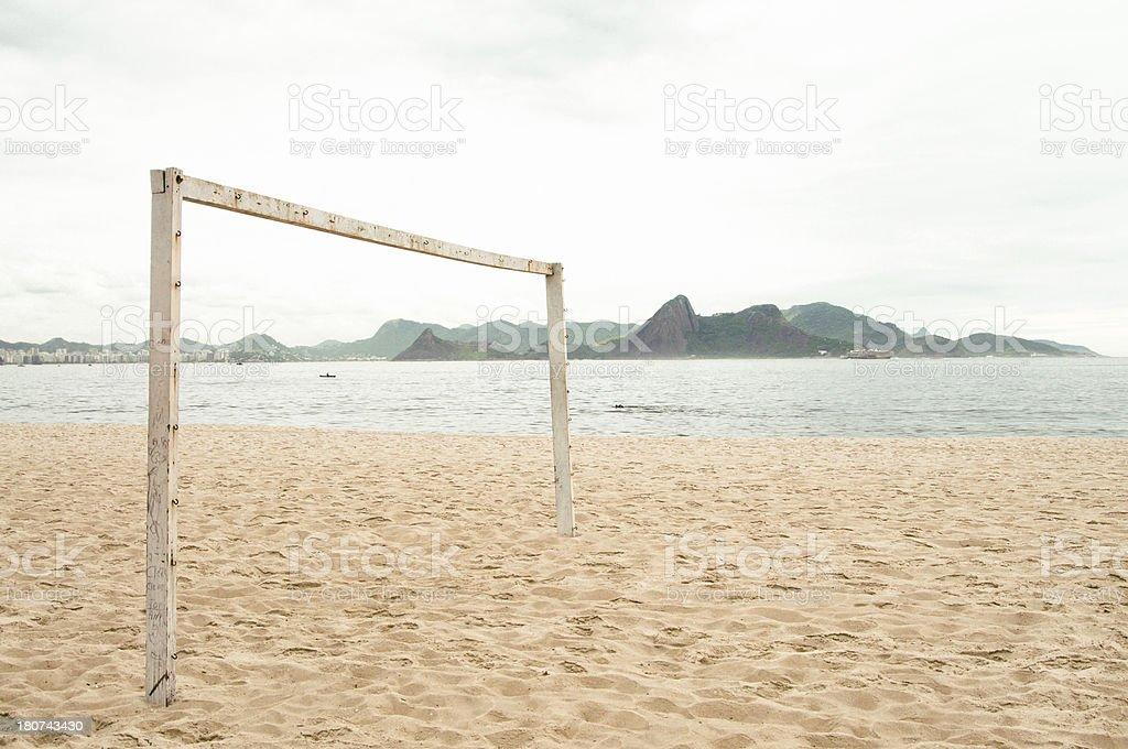 Footprints by Football Goal, Flamengo Beach, Rio de Janeiro, Brazil. stock photo
