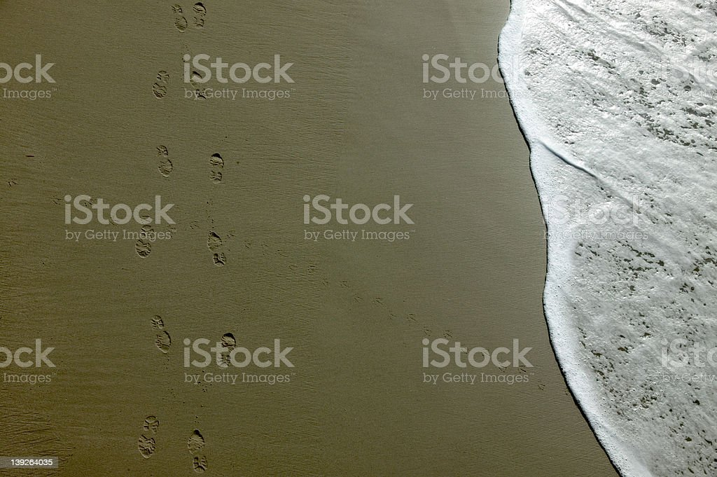 footprints in sand and surf royalty-free stock photo
