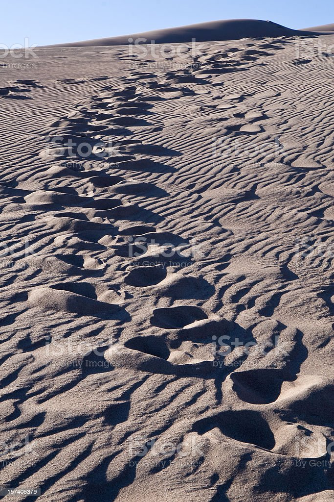 Footprints in Sand Dunes, Great Sand Dunes National Monument, Colorado stock photo