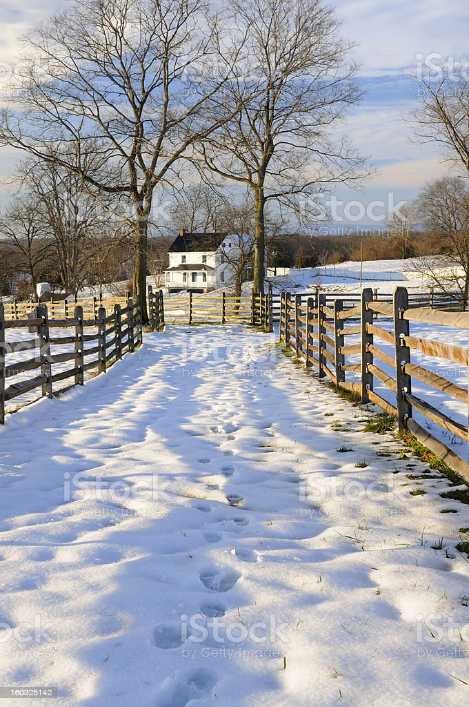Footprints in Snow Leading to Farmhouse royalty-free stock photo