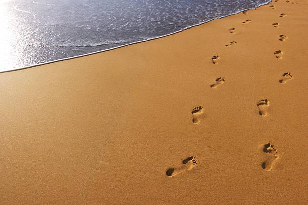 fußspuren im sand - fußspuren stock-fotos und bilder
