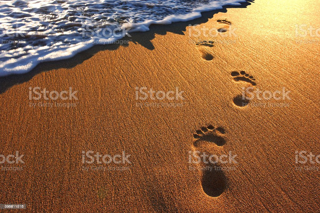 Footprints In The Beach Sand royalty-free stock photo