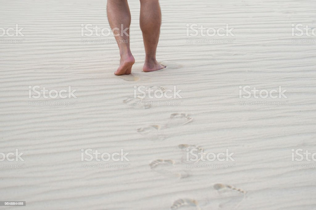 Footprints in the desert royalty-free stock photo
