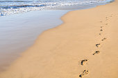 Path of footprints in ocean sand. Horizontal