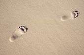Footprints in the sand at the sea