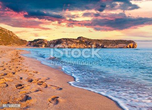 istock Footprints in the sand on the famous Turkish beach Patara 857930228