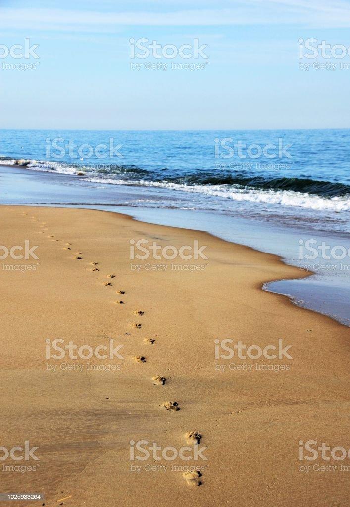 Fußspuren im Sand  – Foto