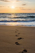 Single set of footprints in the sand at sunset or sunrise at the beach; dramatic and vibrant