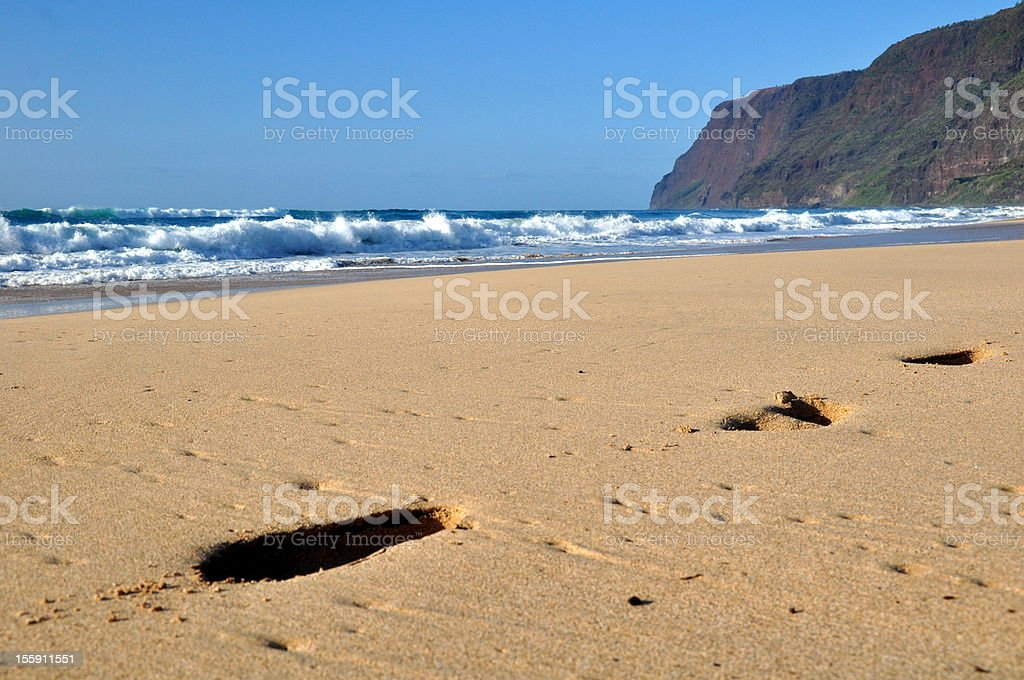 Footprints in the sand - Polihale Beach, Kauai, Hawaii royalty-free stock photo