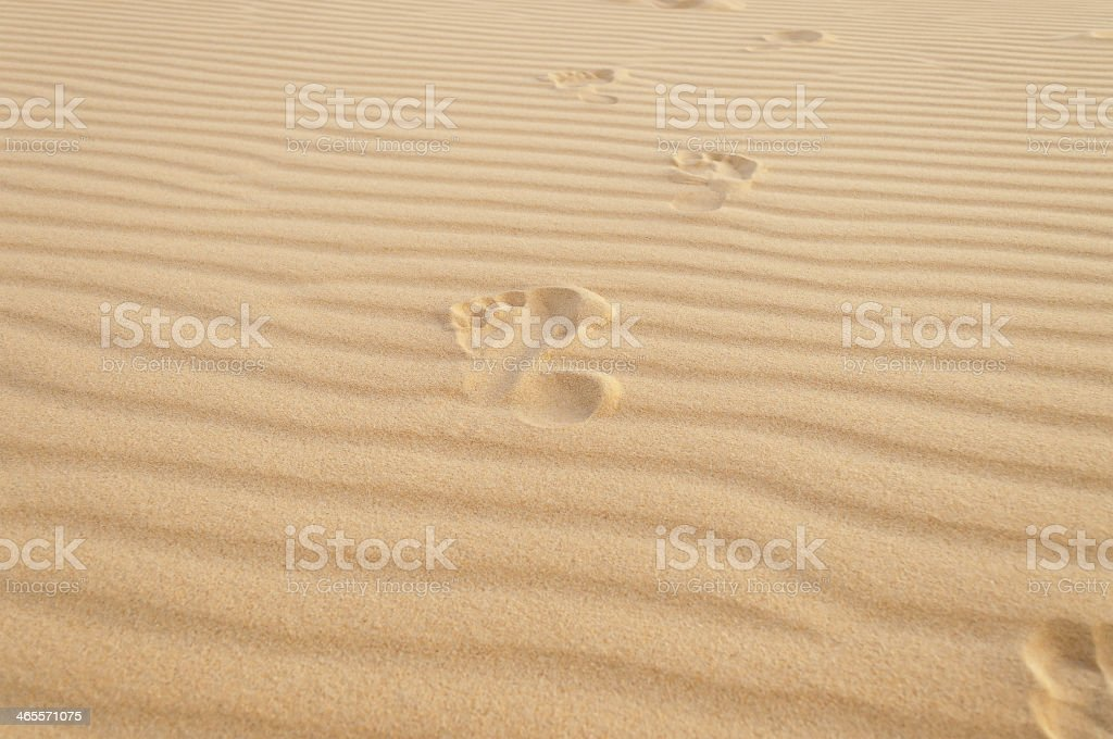 Footprints in the sand. White sand dunes. Mui Ne. Vietnam stock photo