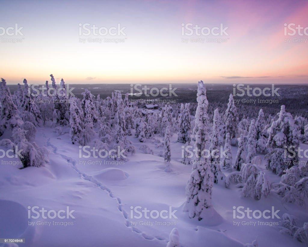 Fußspuren im Schnee vor Sonnenaufgang – Foto
