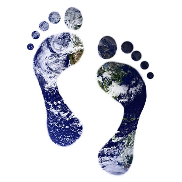 footprints of Earth stock photo
