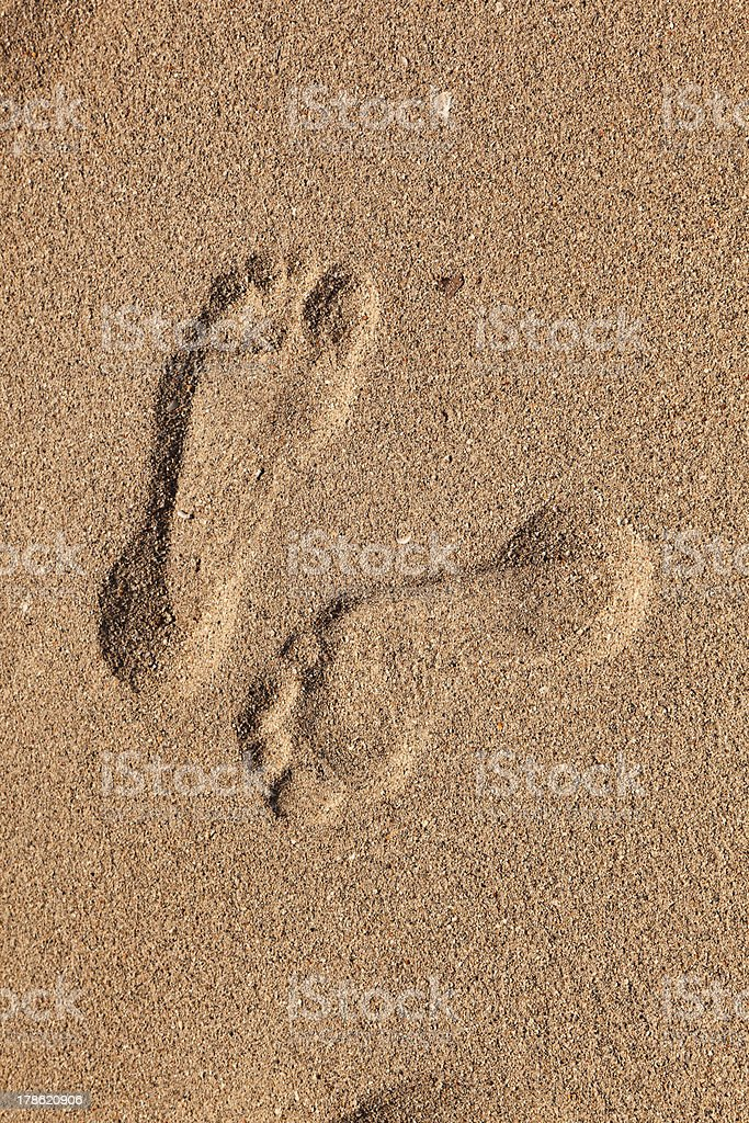 footprints  of man at the beach royalty-free stock photo