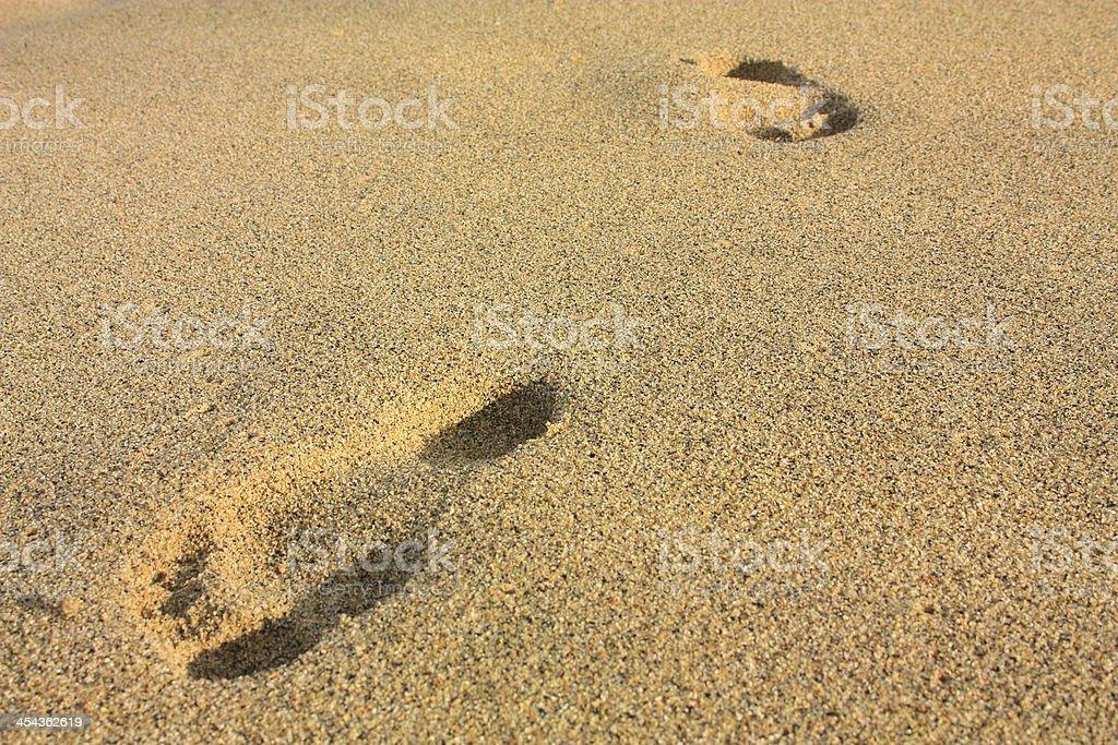 Footprints on a beach. Tayrona, Colombia royalty-free stock photo