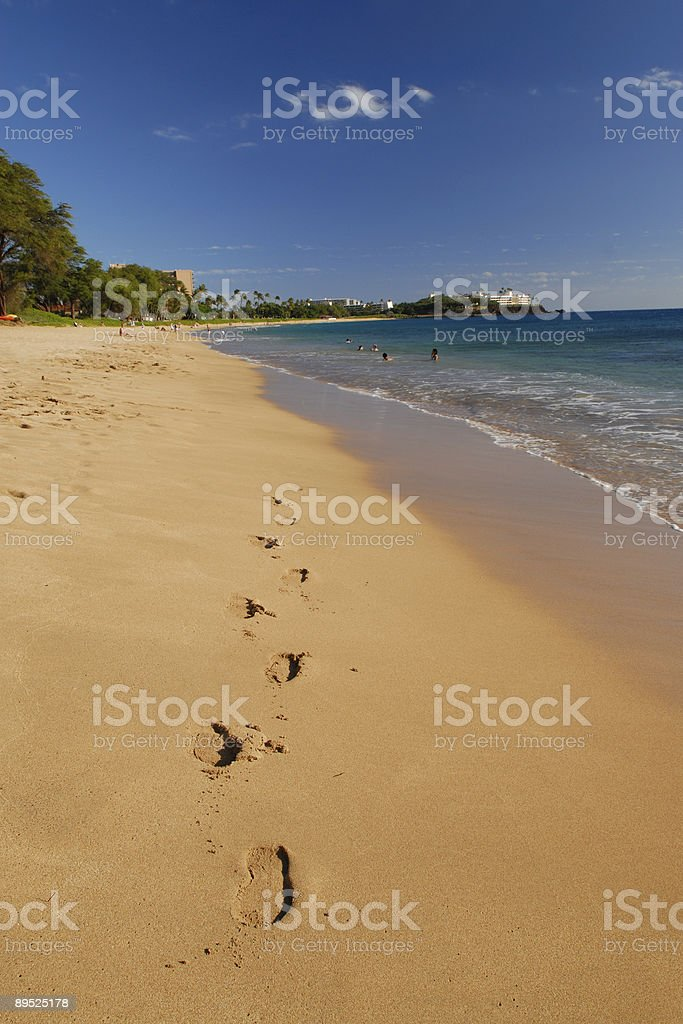 Footprints on Beach royalty-free stock photo
